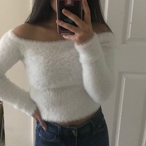 DIVIDED Fuzzy White Off the Shoulder Sweater